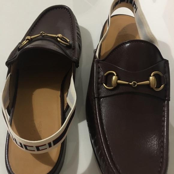 fa9d9257588a Gucci men brown horsebit stripe slingback slipper